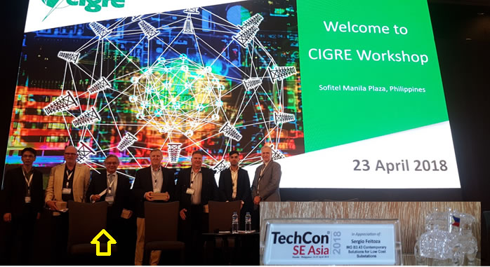 Sergio, one of the speakers of Cigrè Manilla-Philipines event in 2018. Workshop about low cost substations for developing countries